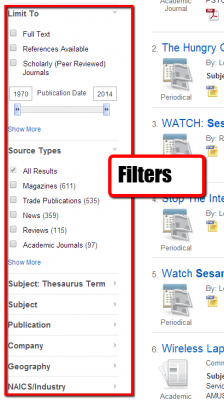 Filters are on left side of results page